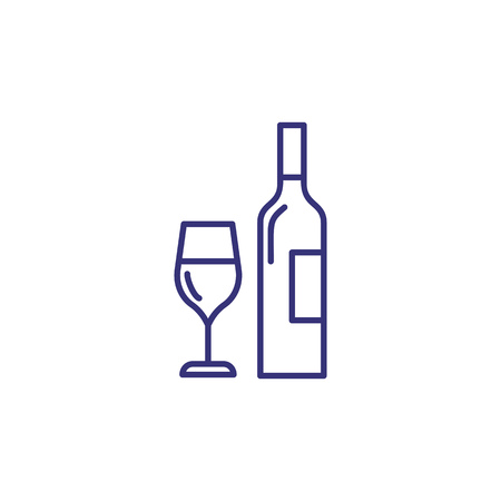 Bottle and wineglass line icon. Wine list, bar, addiction. Restaurant concept. Vector illustration can be used for topics like drinks, menu, holiday