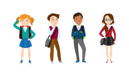 Conjunto de iconos de niños en edad escolar. Conjunto de ilustraciones vectoriales sobre fondo blanco. Estudiantes, amigos, adolescentes. Concepto de escuela. La ilustración vectorial se puede utilizar para temas como educación, infancia, moda.