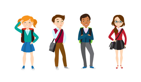 School children icon set. Set of vector illustrations on white background. Students, friends, teenagers. School concept. Vector illustration can be used for topics like education, childhood, fashion