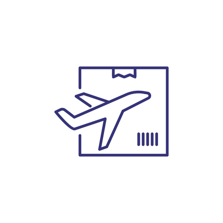 Air delivery line icon. Plane, box, package. Logistics concept. Can be used for topics like shipment, transportation, airmail