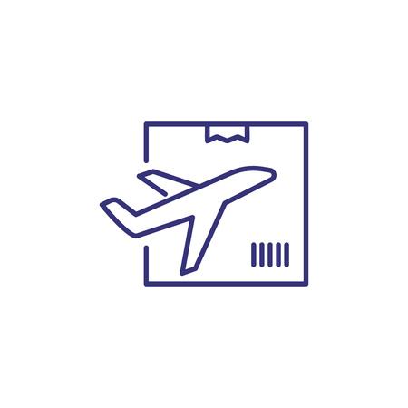 Luftzuleitungssymbol. Flugzeug, Box, Paket. Logistikkonzept. Kann für Themen wie Versand, Transport, Luftpost verwendet werden