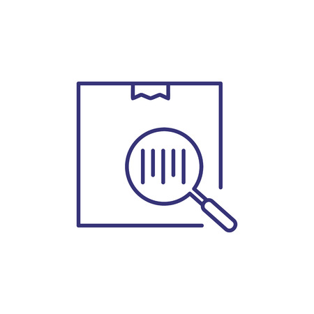 Bar code line icon. Barcode on box through magnifier glass. Delivery concept. Can be used for topics like shipping, logistics, order tracking