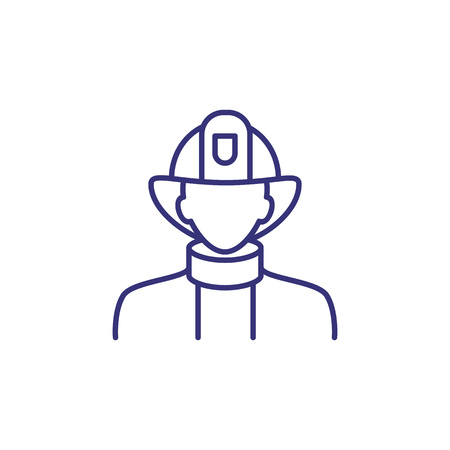 Fireman line icon. Firefighter, brigade, protective suit, helmet. Occupation concept. Can be used for topics like fire hazard, emergency, alert  イラスト・ベクター素材