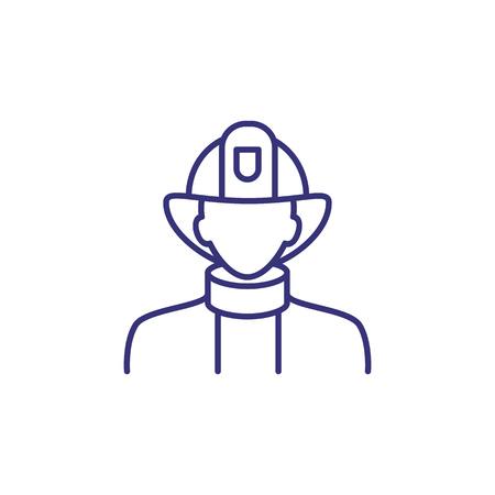 消防士のラインアイコン。消防士、旅団、防護服、ヘルメット。職業の概念。火災の危険、緊急、アラートなどのトピックに使用することができます
