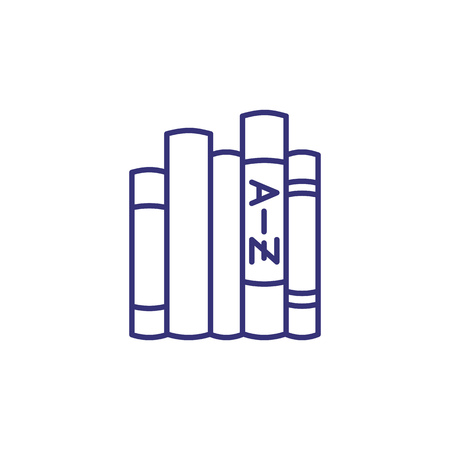 Dictionaries line icon. Stack of books, shelf, glossary. Translation concept. Can be used for topics like foreign language learning, interpret, linguistics