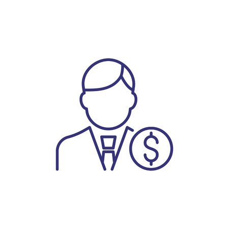 Businessman line icon. Man in tie and money. Occupation concept. Can be used for topics like top management, banking, finance, investment