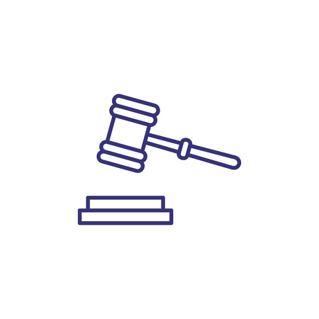Judge gavel line icon. Hammer, mallet, courthouse, instrument. Justice concept. Can be used for topics like court, judicial hearing, auction