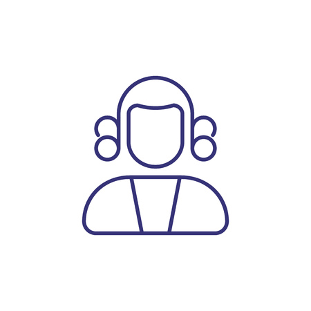 Judge line icon. Court, lawsuit, trial. Justice concept. Vector illustration can be used for topics like legal system, law, profession