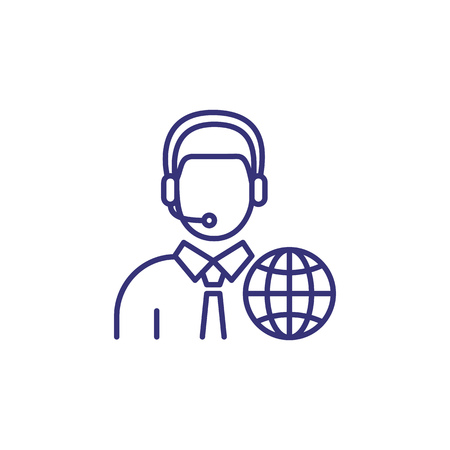 Interpreter line icon. Character in headset with globe. Translation concept. Can be used for topics like global communication, occupation, booth interpretation Illustration