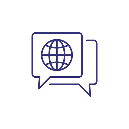 Global dialog line icon. Speech bubbles with globe inside. Translation concept. Can be used for topics like foreign language, communication, international partnership, negotiation Ilustrace
