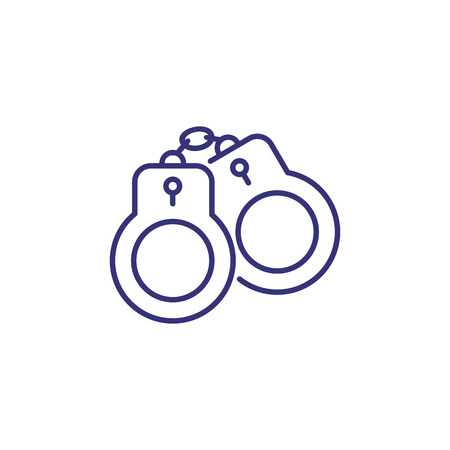 Handcuffs line icon. Arrest, criminal, bdsm, Justice concept. Vector illustration can be used for topics like punishment, legal system, crime