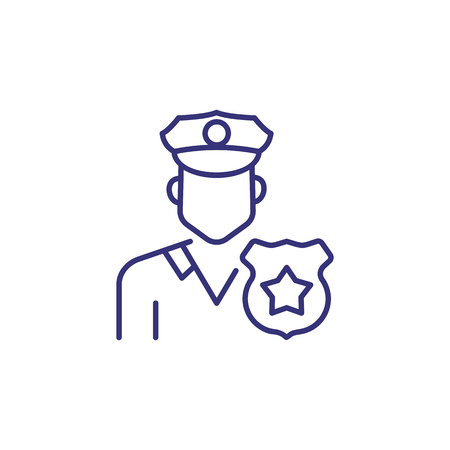 Police officer line icon. Policeman, cop, badge. Occupation concept. Can be used for topics like law enforcement, police staff, uniform, occupation Illusztráció
