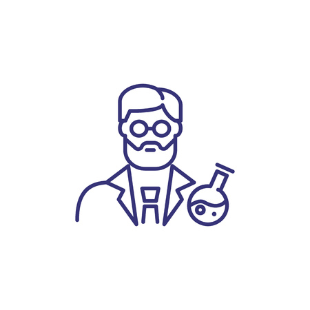 Scientist line icon. Chemist, pharmacologist, beaker. Occupation concept. Can be used for topics like lab test, research, science