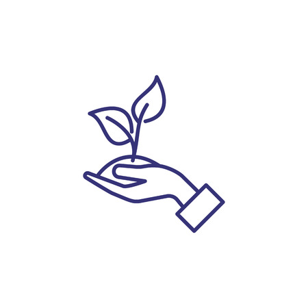 Environment protection line icon. Plant in hand, leaves, sprout. Ecology concept. Can be used for topics like eco, flora, nature care