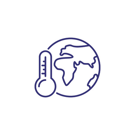 Global warming line icon. Globe, planet, world, thermometer. Ecology concept. Can be used for topics like environment, nature, climate, change  イラスト・ベクター素材