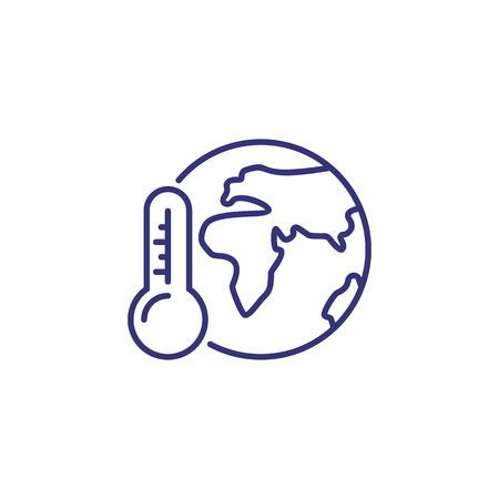 Ikona linii globalnego ocieplenia. Glob, planeta, świat, termometr. Pojęcie ekologii. Może być używany do tematów takich jak środowisko, przyroda, klimat, zmiany