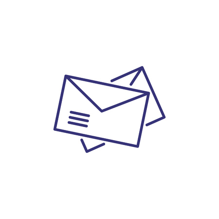 Post line icon. Envelopes, messages, letters. newsletters. Office concept. Can be used for topics like mailing, email box, app, messenger, postal service, correspondence Çizim