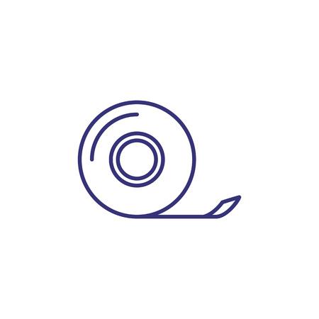 Icona della linea di nastro scozzese. Appiccicoso, rotolo, adesivo, colla. Concetto di forniture per ufficio. Può essere utilizzato per argomenti come stazionario, avvolgimento, adesivo