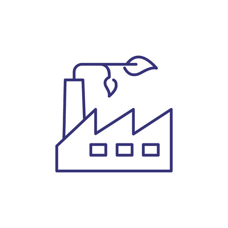 Green factory line icon. Industrial construction and sprout. Ecology concept. Can be used for topics like environment protection, nature, eco industry 向量圖像