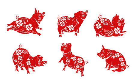 Red cute pig. Cartoon character set with different poses and actions. Ornament, covered with drawing, playing silhouette. Can be used for new year celebration, holiday, pork, bbq restaurant