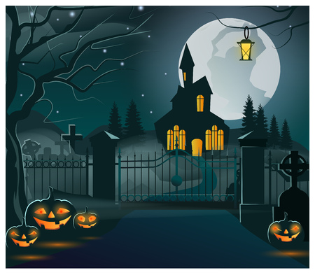 Silhouette of dark house with lights in windows vector illustration. Wrought-iron fence with closed gate, spooky pumpkins on ground. Halloween concept