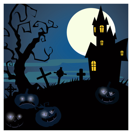 Silhouettes of gothic castle and grave vector illustration. Ominous pumpkins with glowing eyes. Halloween concept