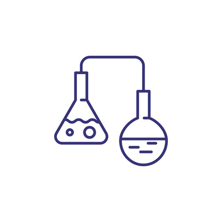 Glass vials line icon. Science, biology, investigation. Science concept. Vector illustration for topics like science, investigation, biology.
