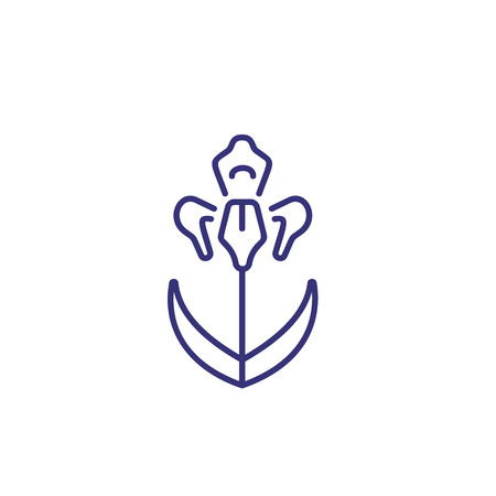 Orchid line icon. Flower, stem, botany. Beauty concept. Vector illustration can be used for topics like nature, botany, spa Stock Illustratie