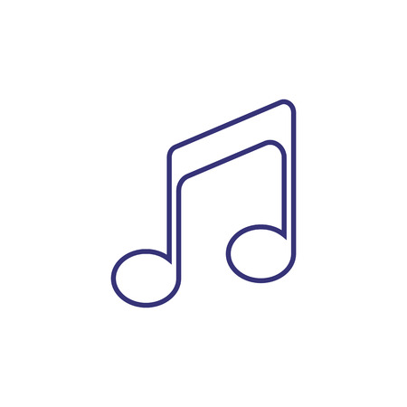 Beamed note line icon. Tone, melody, chord. Music concept. Vector illustration can be used for topics like audio, composition, song Çizim