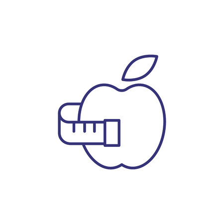 Body care line icon. Tape measure, apple, slimming. Diet concept. Vector illustration can be used for topics like calorie, nutrition, weight loss