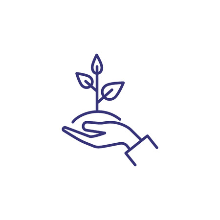 Care of plant line icon. Hand, holding, sapling, leaf. Gardening concept. Vector illustration can be used for topics like growth, planting, ecology