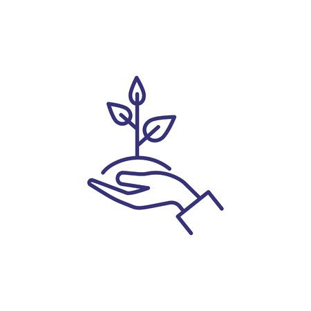 Cuidado del icono de la línea de la planta. Mano, tenencia, árbol joven, hoja. Concepto de jardinería. La ilustración vectorial se puede utilizar para temas como crecimiento, plantación, ecología. Ilustración de vector