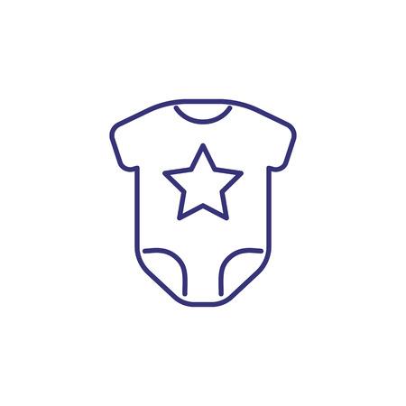 Baby bodysuit line icon. Clothes concept. Childhood, kid, newborn, bodysuit. Vector illustration for topics like childhood, nursery, baby birth