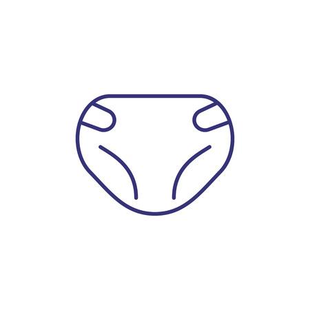Baby diaper line icon. Care concept. Childhood, kid, newborn. Vector illustration for topics like childhood, nursery, baby birth