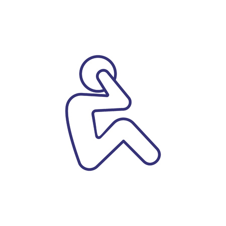 Exercise line icon. Working on abs, crunches, athlete. Sport concept. Vector illustration can be used for topics like fitness, workout, training