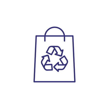 Paper bag with recycle symbol line icon. Store, package, purchase. Environment concept. Vector illustration can be used for topics like shopping, recycling, ecology