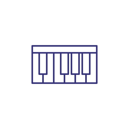 Piano keyboard line icon. Instrument, synthesizer, octave. Classical music concept. Vector illustration can be used for topics like culture, education, concert Çizim