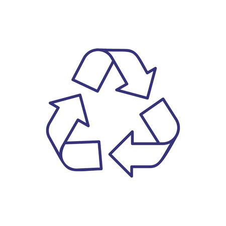 Recycled line icon. Arrow, rotating, reusable. Protection concept. Vector illustration can be used for topics like eco, bio, environment  イラスト・ベクター素材