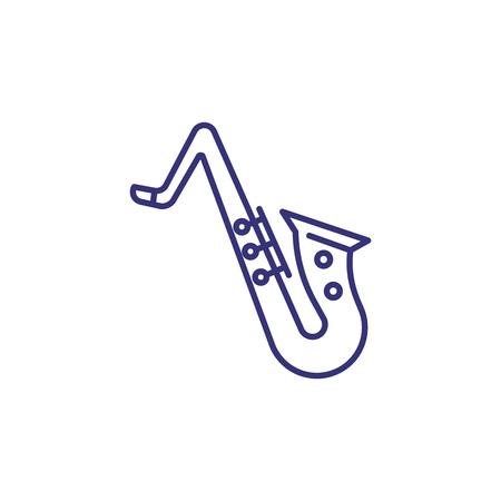 Icône de ligne de saxophone. Groupe, instrument, bois. Notion de jazz. L'illustration vectorielle peut être utilisée pour des sujets comme le divertissement, le concert, le blues