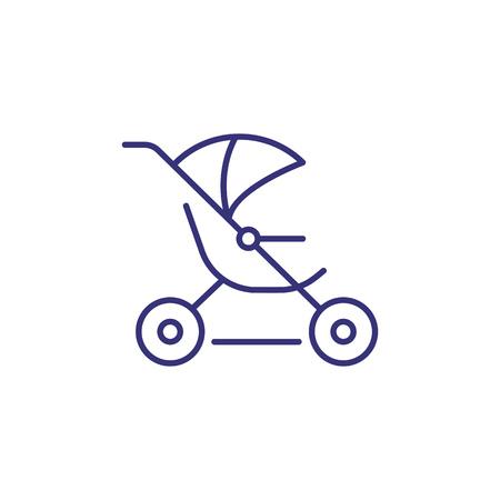 Joggen Kinderwagen Symbol Leitung. Konzept der Kinderausstattung. Kindheit, Kind, Neugeborenes. Vektorillustration für Themen wie Kindheit, Kindergarten, Babygeburt