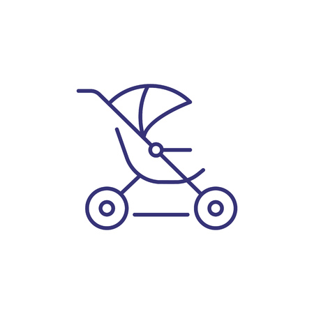 Jogging stroller line icon. Child equipment concept. Childhood, kid, newborn. Vector illustration for topics like childhood, nursery, baby birth