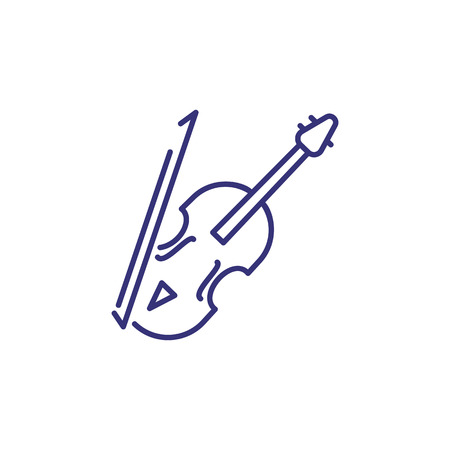 Violin line icon. Bow, fiddle, string. Classical music concept. Vector illustration can be used for topics like symphony, concert, rehearsal Ilustração Vetorial