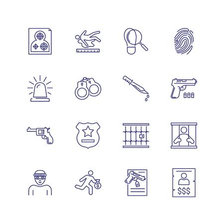 Conjunto de iconos de línea de crimen. Prisionero, ladrón, pistola. Concepto de ley. Se puede utilizar para temas como justicia, castigo, asesinato, investigación.