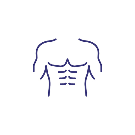 Icône de ligne de torse masculin. Notion de sport. Corps, exercice, entraînement. Illustration vectorielle pour des sujets comme la musculation, le fitness, l'entraînement