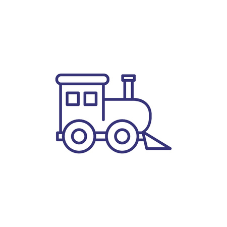 Toy train line icon. Toy concept. Childhood, toys, playing. Vector illustration for topics like childhood, nursery, baby toys Çizim