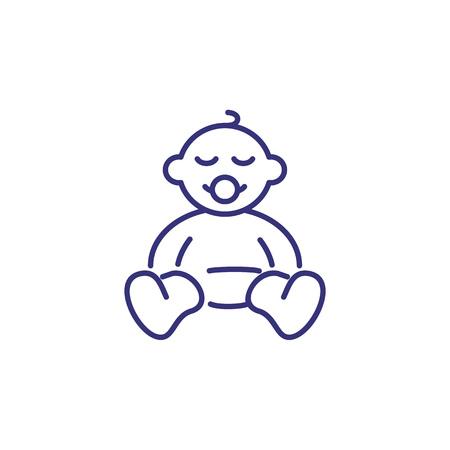 Icône de ligne nouveau-né. Notion de naissance. Enfance, enfant, nouveau-né. Illustration vectorielle pour des sujets comme l'enfance, la crèche, la naissance de bébé Vecteurs
