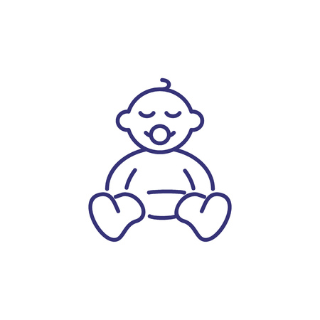 Icono de línea de recién nacido. Concepto de nacimiento. Infancia, niño, recién nacido. Ilustración de vector de temas como infancia, guardería, nacimiento del bebé Ilustración de vector