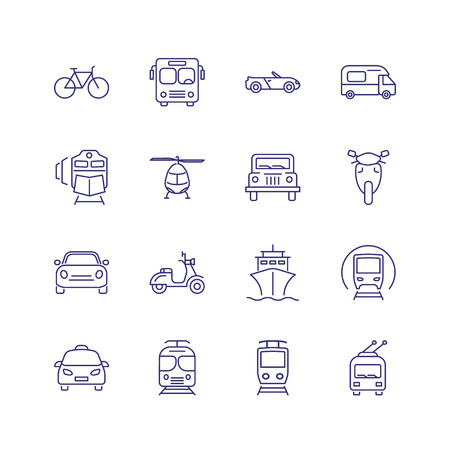 Transport line icon set. Train, ship, helicopter. Transportation concept. Can be used for topics like vehicles, trip, travel