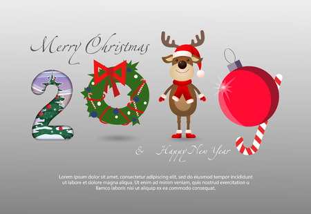 Two thousand and nineteen creative numbers festive banner. Numbers in form of cartoon deer, tree decoration and Christmas wreath. Can be used for postcards, greetings, banners