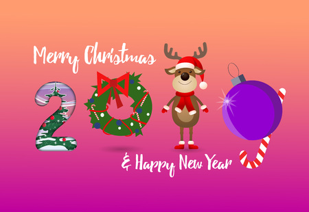 Two thousand and nineteen creative numbers pink poster. Numbers in form of cartoon deer, tree decoration and Christmas wreath. Can be used for postcards, greetings, banners